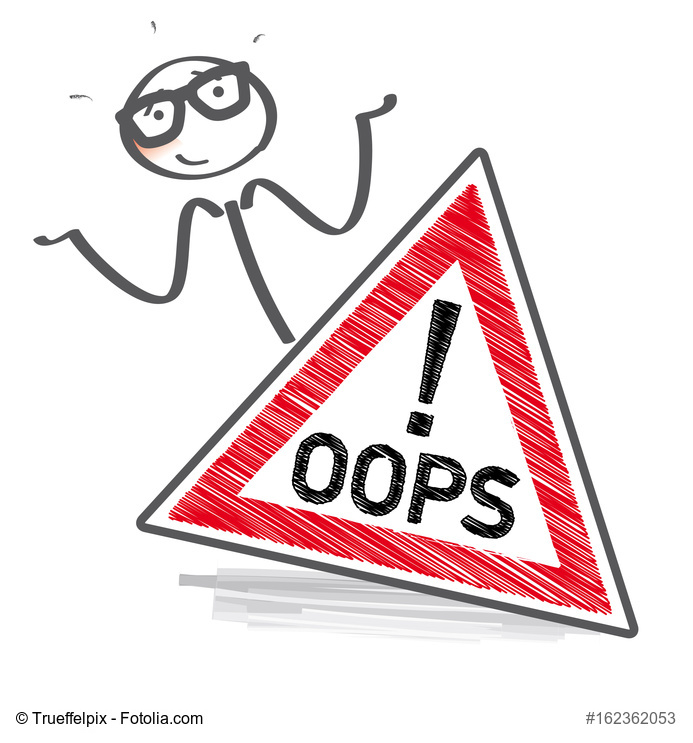 oops – Strichmnnchen mit Schild entschuldigt sich